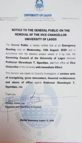 Unilag Vice chancellor