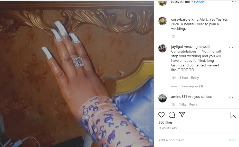 Cossy Ojiakor gets engaged