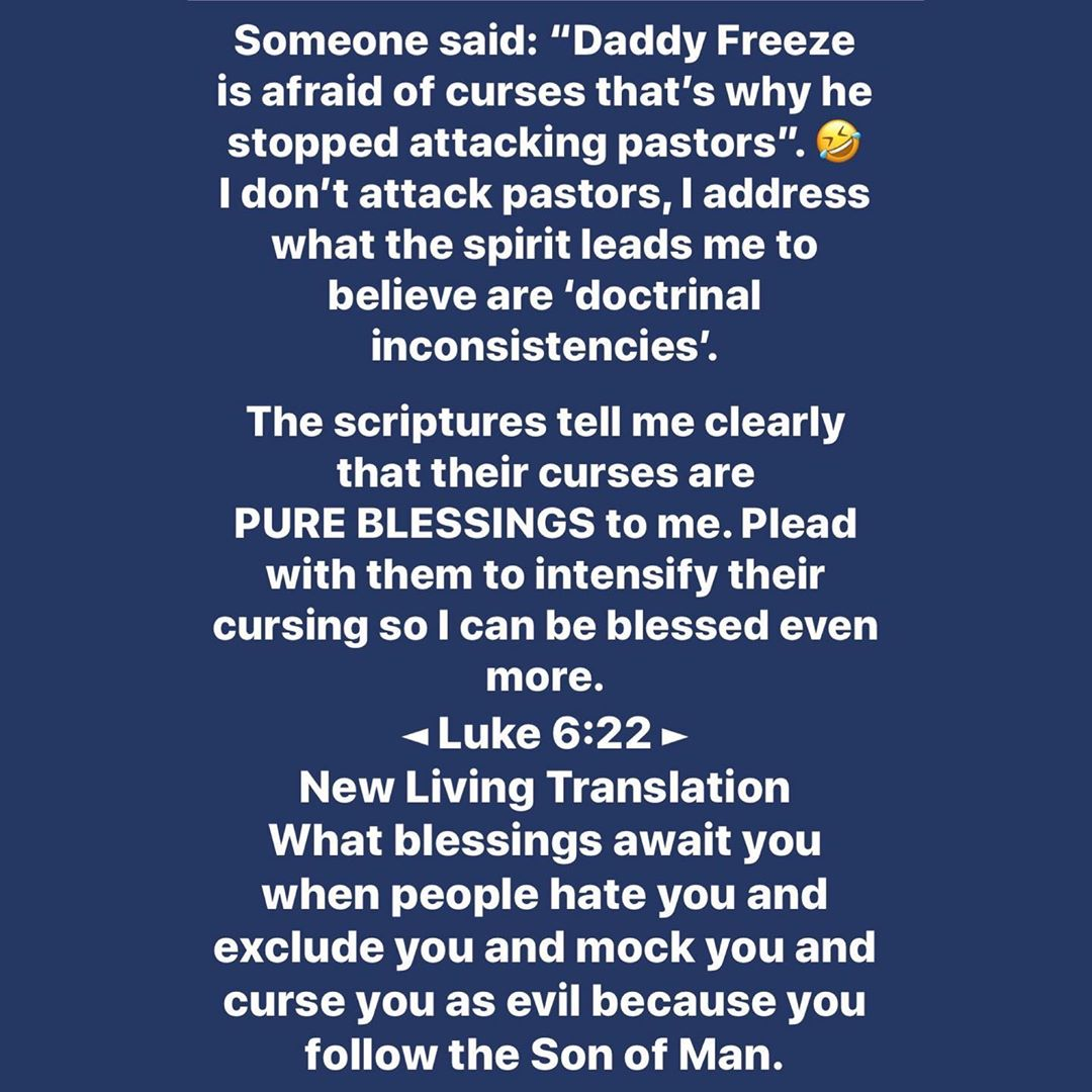 Daddy Freeze curses