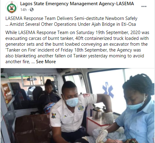 LASEMA help LASEMA response team helps homeless woman deliver her baby safely
