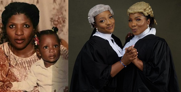 Lady recreates throwback photo of her and her mother as they're both lawyers now