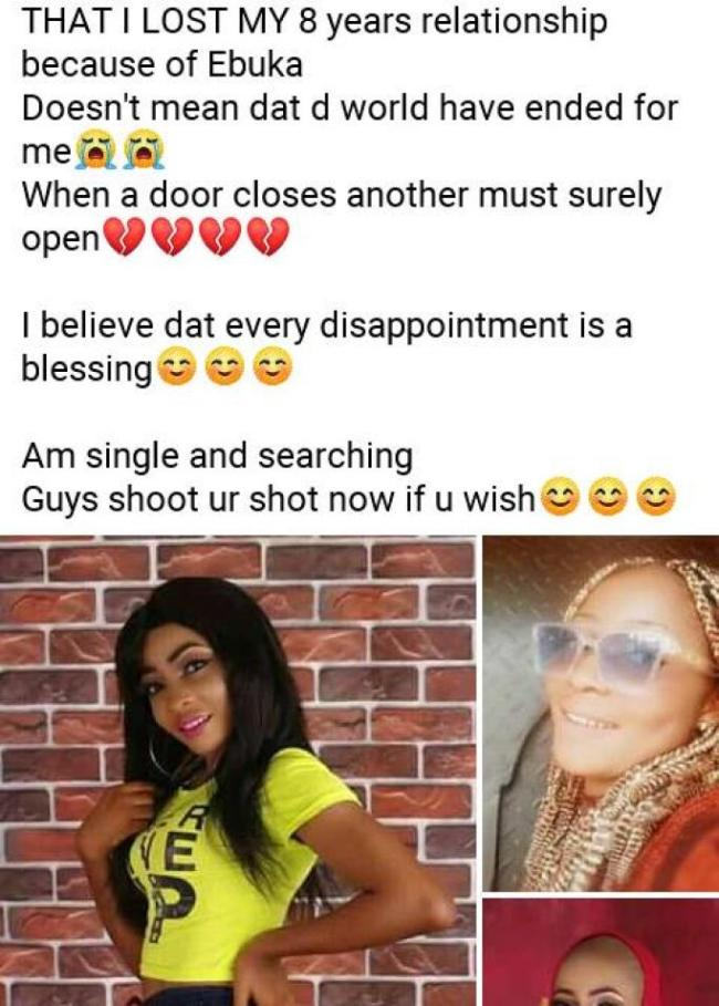 ebuka lady Lady reveals she lost her relationship of eight years because of Ebuka