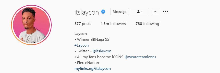 Laycon hits 1.5 million