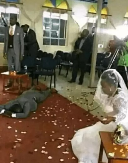 man fainted Man collapses after he discovered that his bride has four grownup children on his wedding day.