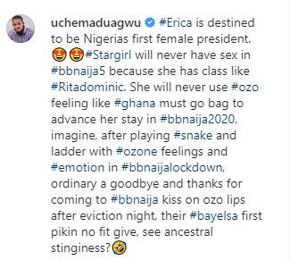 "uche ig ""Erica is destined to be Nigeria's first female president"" – Uche Maduagwu reveals"