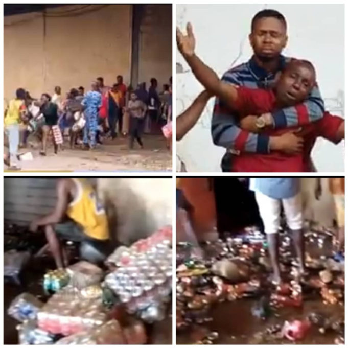 Sad as Business owners watch helplessly as thugs break into their warehouses and take away items in Edo state
