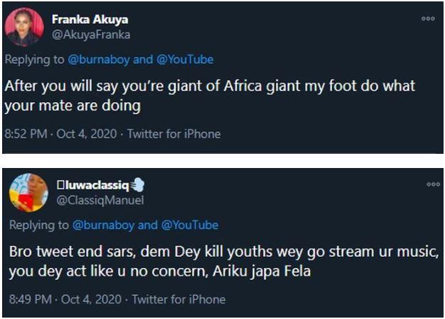 Nigerians blasts Burna