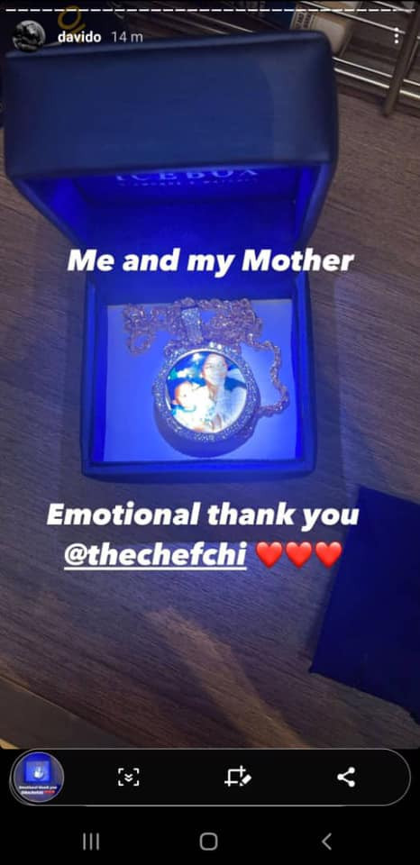 5fb89d5981ad6 Davido flaunts multimillion Naira necklace with image of him and his mother he got as birthday gift from Chioma