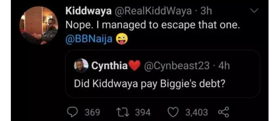 Kiddwaya replies