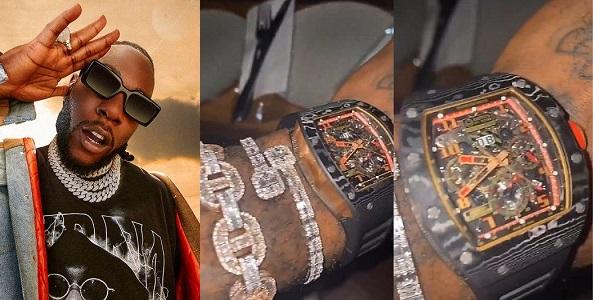 Burna Boy shows off Richard Mille wristwatch worth about ₦50Million