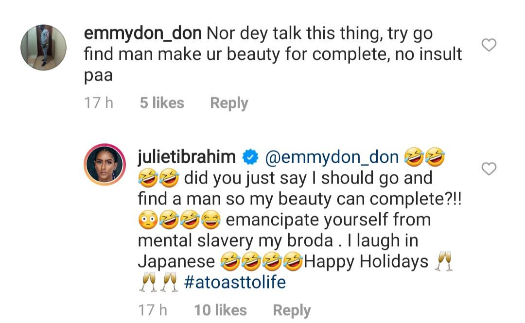 Juliet Ibrahim replies