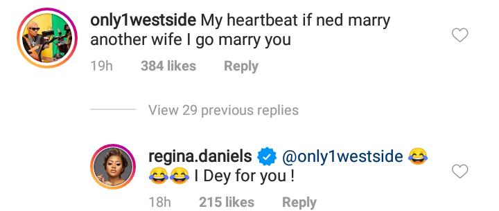 Regina Daniels reacts
