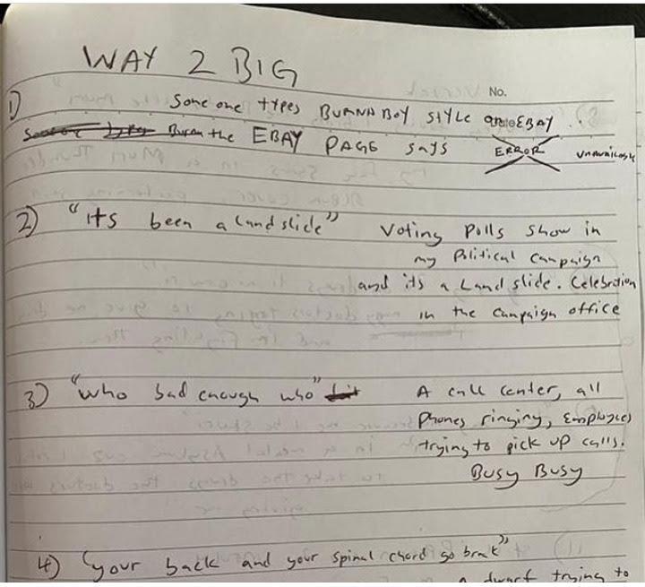 Burna Boy's note