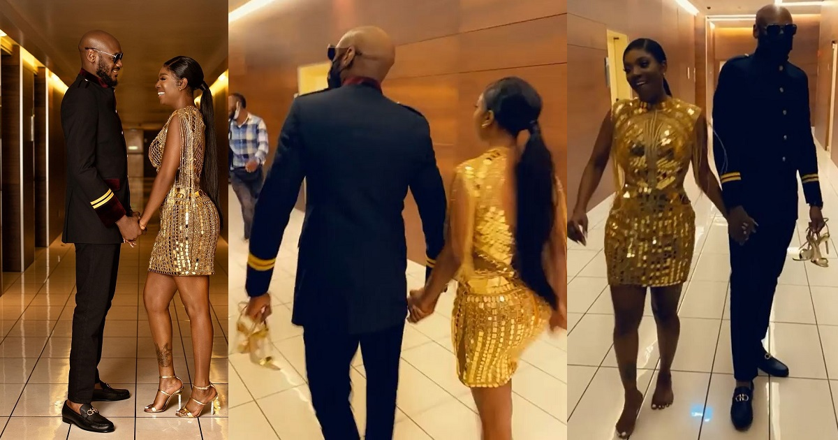 Adorable moment 2Face Idibia held his wife, Annie's shoes for her as they left Headies award ceremony (WATCH) - YabaLeftOnline