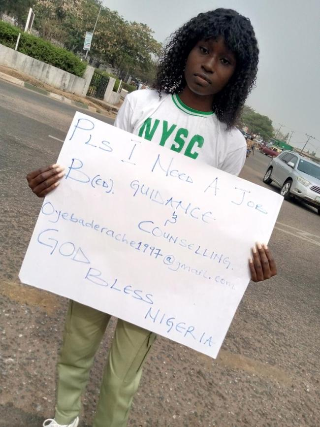 Image result for Graduate in NYSC uniform hits the street to beg for a job immediately after passing out