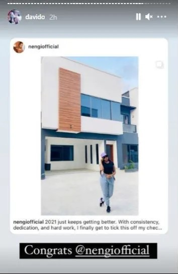 Davido reacts to Nengi