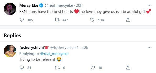Mercy Eke reacts