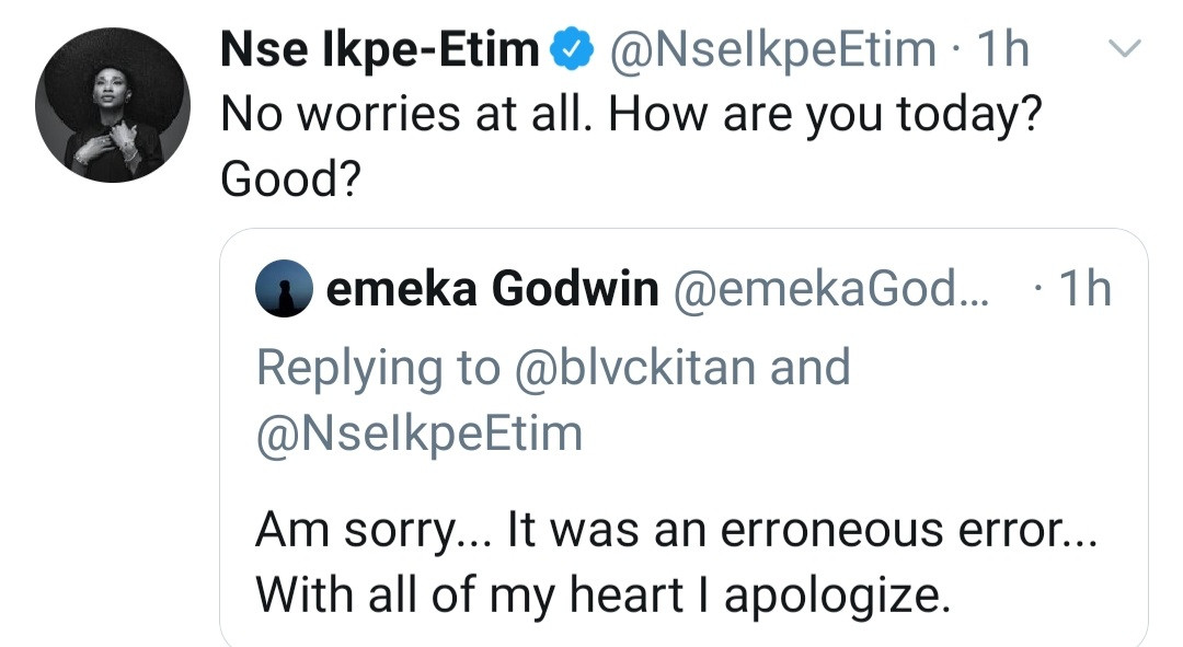 Nse Ikpe-Etim replies