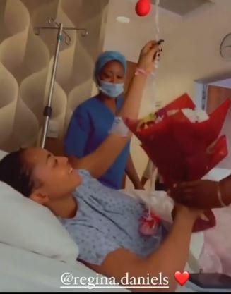 Regina Daniels receives flowers
