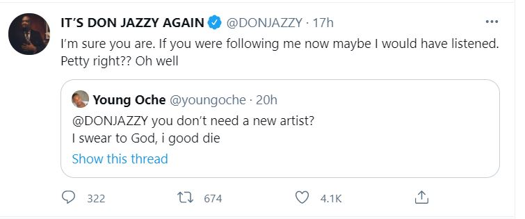 Don Jazzy rejects