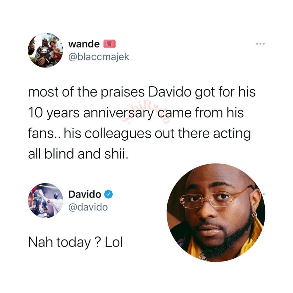 Davido reacts