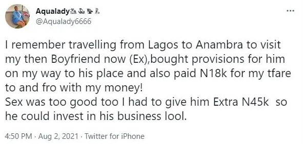 """""""Nigerian women spend on men they love but they don't brag about it"""" – Lady says as she recounts her experience with her ex-boyfriend 2"""